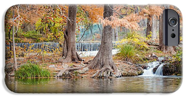 Tree Roots Photographs iPhone Cases - Panorama of Guadalupe River in Hunt Texas Hill Country iPhone Case by Silvio Ligutti