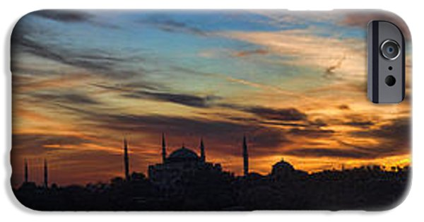 Historic Site iPhone Cases - Panorama of Istanbul Sunset- Call to Prayer iPhone Case by David Smith