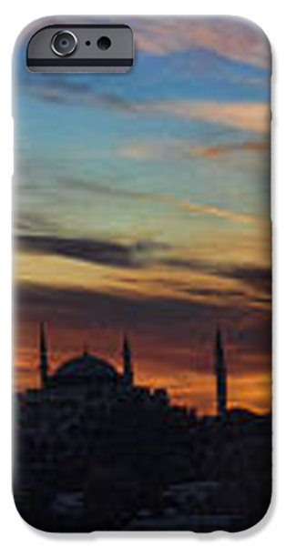 Panorama of Istanbul Sunset- Call to Prayer iPhone Case by David Smith