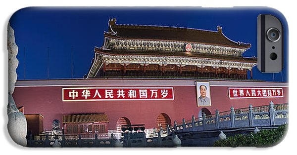 Chairmen iPhone Cases - Panorama of Lion and Forbidden City Gate Beijing China  iPhone Case by David Smith