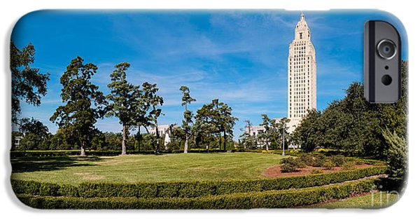 Louisiana State University Photographs iPhone Cases - Panorama of Louisiana State Capitol Building and Gardens - Baton Rouge iPhone Case by Silvio Ligutti