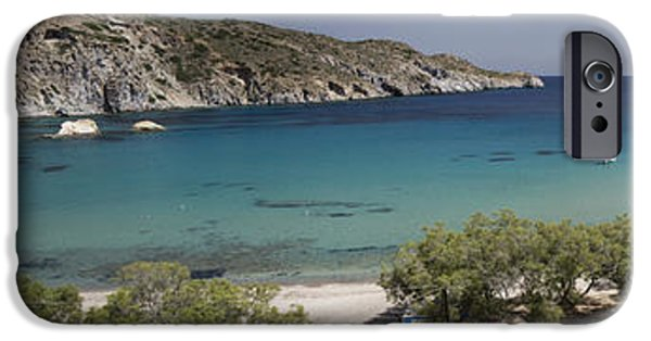 Ocean Panorama iPhone Cases - Panorama of Mandrakia Fishing Village Milos Greece iPhone Case by David Smith