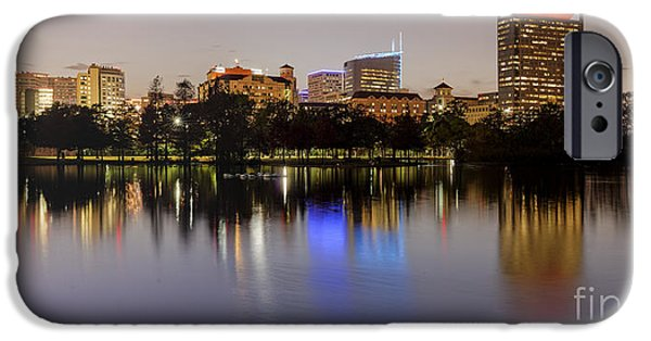 Japanese School iPhone Cases - Panorama of McGovern Lake and Texas Medical Center at Twilight- Hermann Park Houston Texas iPhone Case by Silvio Ligutti