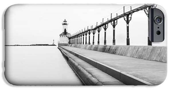 Lighthouse iPhone Cases - Panorama of Michigan City Lighthouse Black and White Photo iPhone Case by Paul Velgos