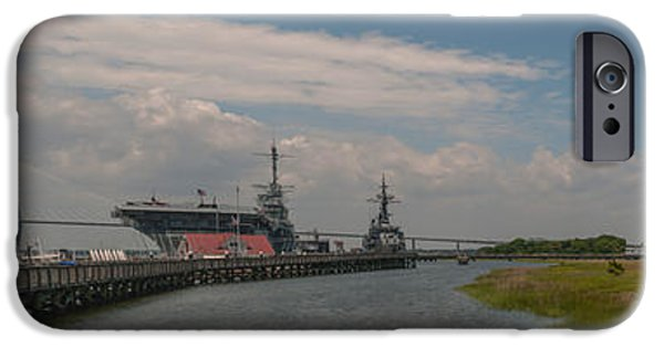 Yorktown iPhone Cases - Panorama of Patriots Point iPhone Case by Dale Powell