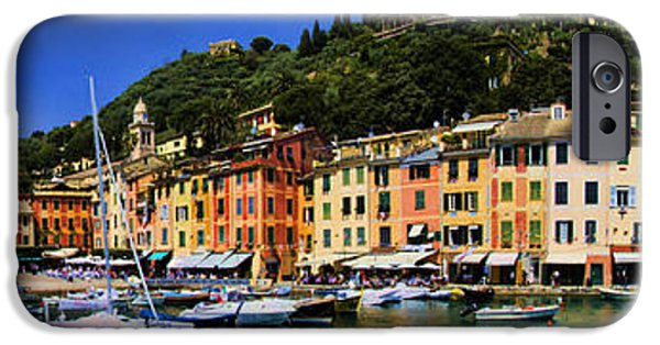 Shore Excursion iPhone Cases - Panorama of Portofino Harbour Italian Riviera iPhone Case by David Smith
