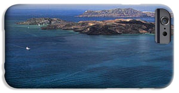 David iPhone Cases - Panorama of Santorini Caldera iPhone Case by David Smith