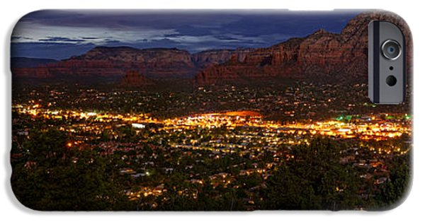 Sedona iPhone Cases - Panorama of Sedona Red Rocks Arizona iPhone Case by Silvio Ligutti