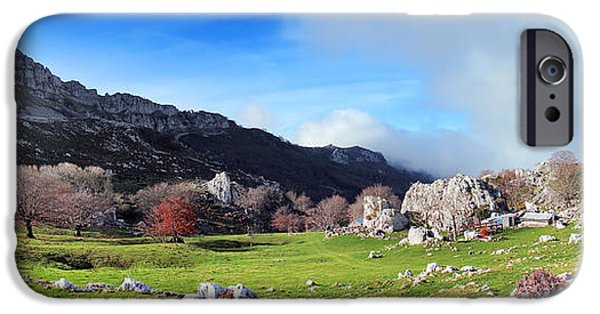 Old Barn iPhone Cases - Panorama Of Small And Rustic Farms On Mountain iPhone Case by Mikel Martinez de Osaba