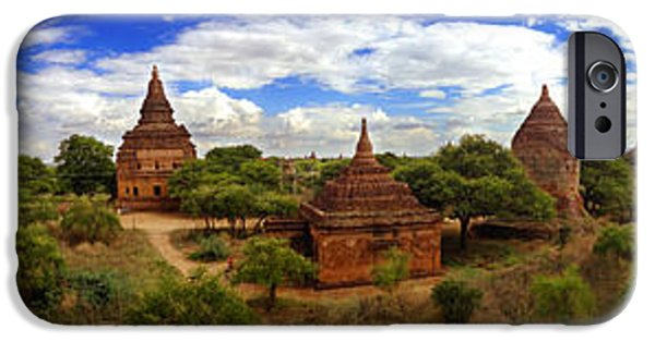 Buddhist iPhone Cases - Panorama of That Byin Nyu 12th Century Buddhist Temple Old Bagan Myanmar Burma iPhone Case by Ralph A  Ledergerber-Photography