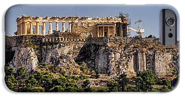 Civilization iPhone Cases - Panorama of the Acropolis in Athens iPhone Case by David Smith