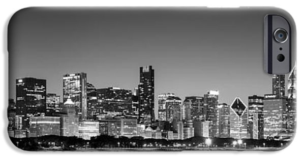 Willis Tower iPhone Cases - Panorama of the Chicago Skyline in Black and White iPhone Case by Semmick Photo