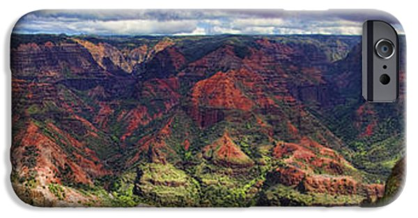 Grand Canyon iPhone Cases - Panorama of Waimea Canyon Hawaii iPhone Case by David Smith