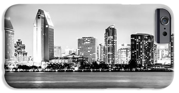 Print Photographs iPhone Cases - Panorama San Diego Skyline Black and White Picture iPhone Case by Paul Velgos