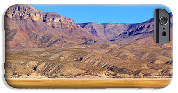 Interior Scene iPhone Cases - Panorama Sierra Caballo Mountains and Dry Lake Bed iPhone Case by Roena King