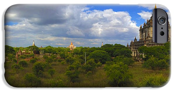 Buddhist iPhone Cases - Panorama with view onto majestic That Byin Nyu 12th Century Buddhist Temple Old Bagan Myanmar Burma iPhone Case by Ralph A  Ledergerber-Photography