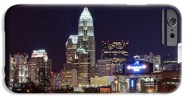 Bank Of America iPhone Cases - Panoramic Charlotte Night iPhone Case by Frozen in Time Fine Art Photography