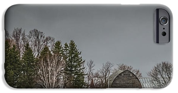 Old Barn iPhone Cases - Panoramic Farm Scene iPhone Case by Paul Freidlund