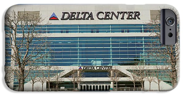 Basketball Sports iPhone Cases - Panoramic Of Delta Center Building iPhone Case by Panoramic Images