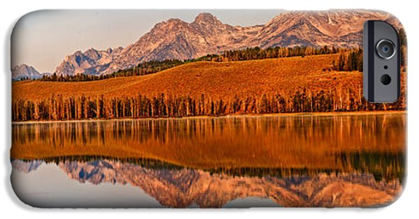 Haybale iPhone Cases - Panoramic Of Little Redfish Lake iPhone Case by Robert Bales