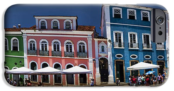 Historic Site iPhone Cases - Panoramic of Salvador Brazil Street Scene iPhone Case by David Smith