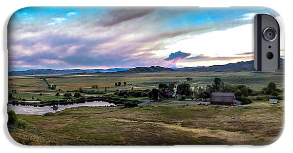 Haybale iPhone Cases - Panoramic of Solider Ranch iPhone Case by Robert Bales