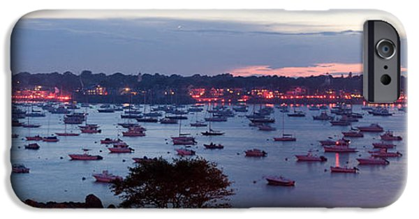 4th July Digital Art iPhone Cases - Panoramic of the Marblehead Illumination iPhone Case by Jeff Folger