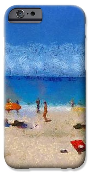 Panoramic painting of Porto Katsiki beach iPhone Case by George Atsametakis