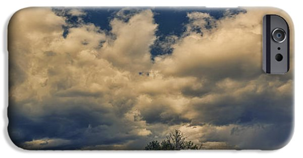 Panoramic Pyrography iPhone Cases - Panoramic Storm Clouds Over Norway iPhone Case by Angela A Stanton