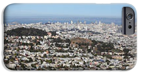 Birdseye iPhone Cases - Panoramic View From San Francisco California Twin Peaks 20140223 iPhone Case by Wingsdomain Art and Photography