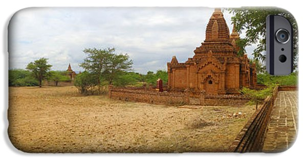 Buddhist iPhone Cases - Panoramic view Next To Dhammayazika Pagoda Built In 1196 By King Narapatisithu iPhone Case by Ralph A  Ledergerber-Photography