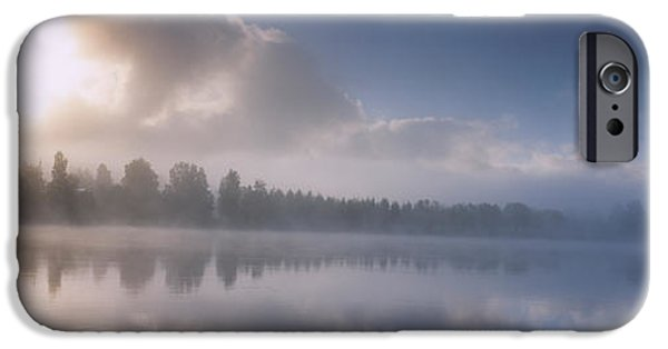 Reflections In River iPhone Cases - Panoramic View Of A River At Dawn iPhone Case by Panoramic Images