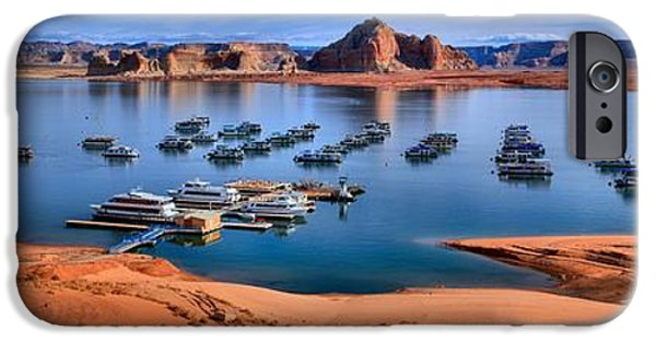 Wahweap iPhone Cases - Panoramic View Of Lake Powell iPhone Case by Adam Jewell