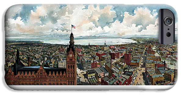 Hall Mixed Media iPhone Cases - Panoramic View Of Milwaukee Wisconsin iPhone Case by War Is Hell Store
