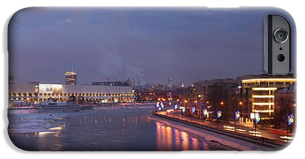 Patriarch iPhone Cases - Panoramic View Of Moscow river Red October confectionary plant and the monument to Peter the Great iPhone Case by Alexander Senin