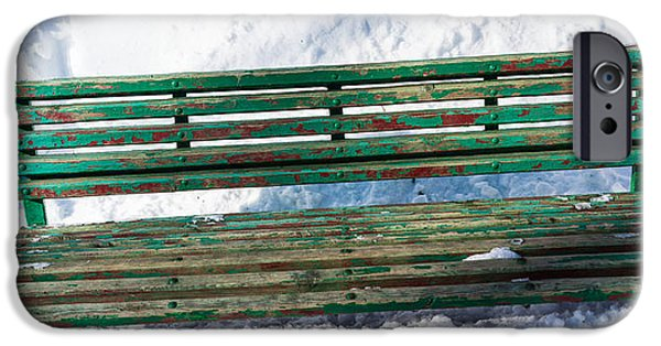 Snowbank iPhone Cases - Panoramic view of park bench - Featured 2 iPhone Case by Alexander Senin