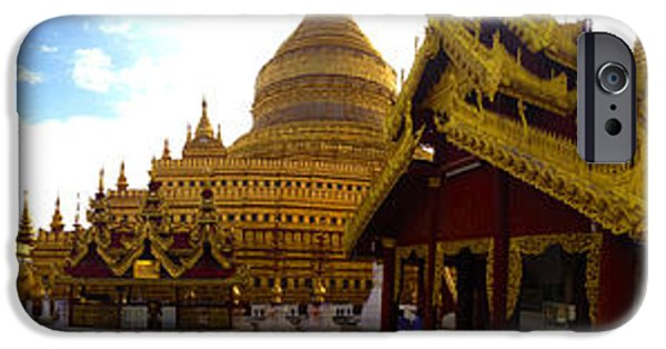 Buddhist iPhone Cases - Panoramic View Of Shwezigon Pagoda Compound Nyaung Oo Near Bagan Burma iPhone Case by Ralph A  Ledergerber-Photography
