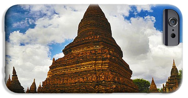 Buddhist iPhone Cases - Panoramic view of Smaller Pagodas next to Htilominlo Pagoda iPhone Case by Ralph A  Ledergerber-Photography