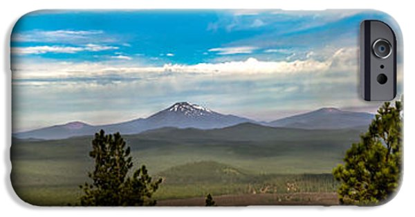 Haybale iPhone Cases - Panoramic View of the Cascades iPhone Case by Robert Bales