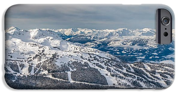 Winter Storm iPhone Cases - Panoramic view of Whistler Mountain iPhone Case by Pierre Leclerc Photography