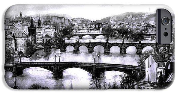 Charles Bridge Digital Art iPhone Cases - Panoramic view to Prague iPhone Case by Dmitry Koptevskiy