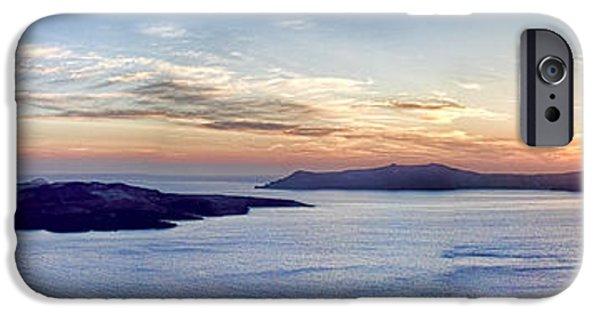 Interface Images iPhone Cases - Panorama Santorini Caldera at Sunset iPhone Case by David Smith