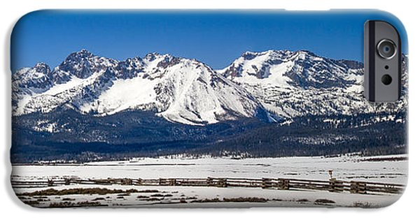 Haybale iPhone Cases - Panormaic Sawthooth Mountains iPhone Case by Robert Bales
