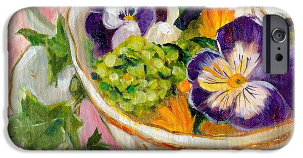 Tea Party iPhone Cases - Pansies in a Tea Cup iPhone Case by Linda Dunbar