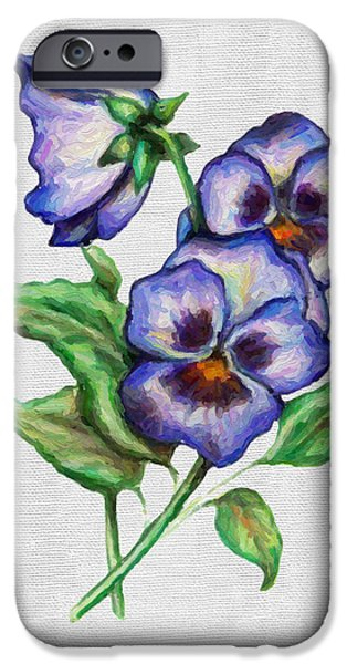 Pansy iPhone Cases - Pansies iPhone Case by Walt Foegelle