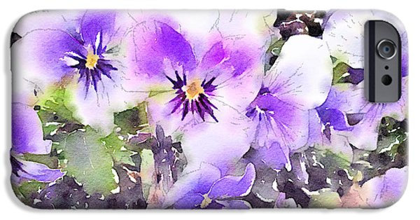Pansy iPhone Cases - Pansies Watercolor iPhone Case by John Edwards