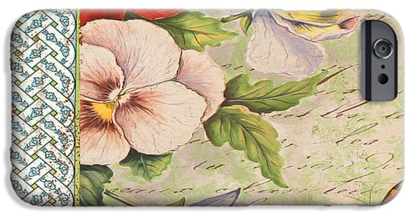 Digital Watercolor Paintings iPhone Cases - Pansy Garden-A iPhone Case by Jean Plout