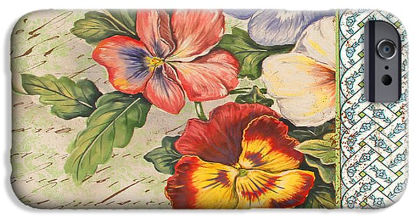 Digital Watercolor Paintings iPhone Cases - Pansy Garden-B iPhone Case by Jean Plout