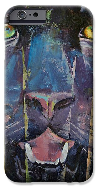 Michael iPhone Cases - Panther iPhone Case by Michael Creese
