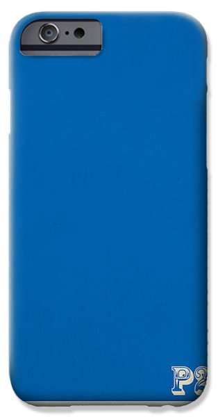 Pantone iPhone Cases - Pantone 285 Clear Sky Blue Color on Worn Canvas iPhone Case by Design Turnpike